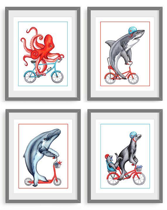 Quatre affiches: pieuvre, requin, baleine à bosse et lions de mer, 5 x 7, 8 x 10