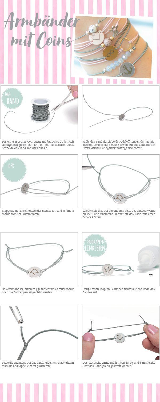 DIY-Schmuckanleitung für Armbänder mit Coins #schmuck #diyschmuck #schmuckanleitung #schmuckshop #selbstgemacht #jewelrymaking #schmuckdesign #schmuckideen