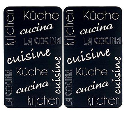 Wenko 2521478500,Coprifuochi vetro universale per cucina internazionale, per tutti i tipi di piani di cottura, vetro temperato, set da 2pezzi, colore: nero, 52x 30x 4,5cm