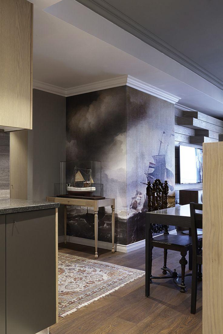 Gentlemen | Dining | Wallpaper | Old Ship | Wallprint | Oak | Dusted moss | Copper table | Apartment | Interior design | Etienne Hanekom Interiors