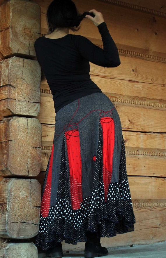 Polka dots fantasy long skirt recycled, patchworked romantic gypsy boho. Made from recycled clothing. Remade, reused, up cycled. Very wide. Perfect to