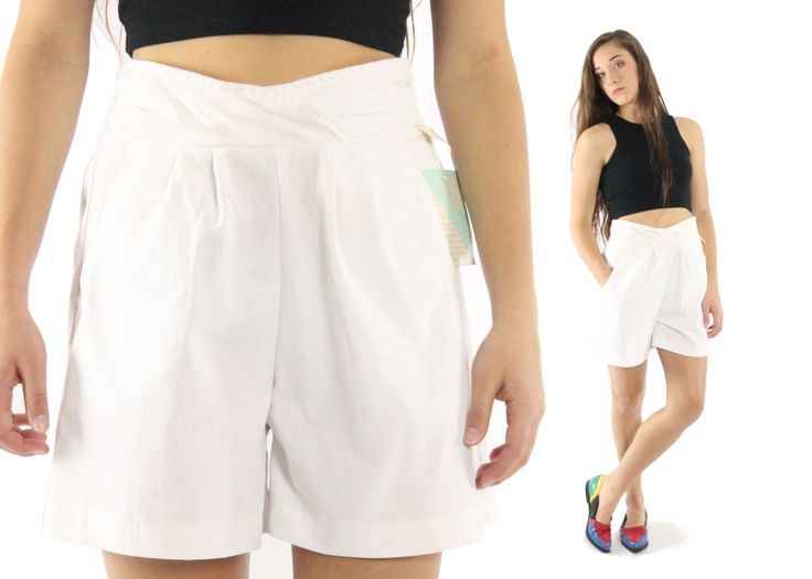 $38, Vintage 80s High Waisted Shorts NOS White Cotton Short Pleated Elastic Shorts 1980s Sailor Nautical Shorts Medium M Justin Allen by ScarletFury on Etsy