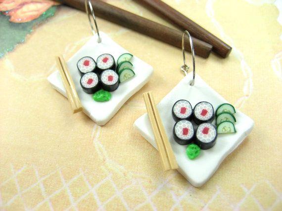 Sushi Earrings - food jewelry