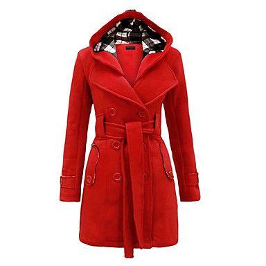 Manteau+Femme,Couleur+Pleine+Décontracté+/+Quotidien+/+Grandes+Tailles+simple+Manches+Longues+Bleu+/+Rouge+/+Noir+/+Gris+/+Violet+Laine+–+EUR+€+19.59