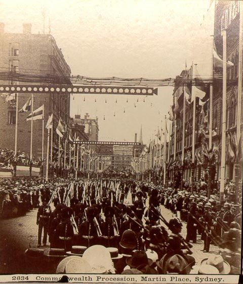 Federation 1901: Roses Stereoscopic Views Commonwealth Procession, Martin Place, Sydney 1901.
