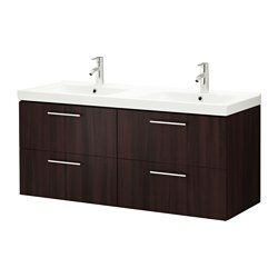 GODMORGON / ODENSVIK, Sink cabinet with 4 drawers, black-brown