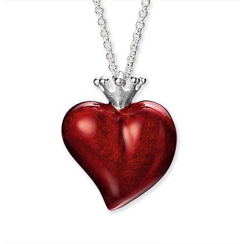 Crown of my Heart, gr. Herz Anhänger aus Silber mit Brandlack.