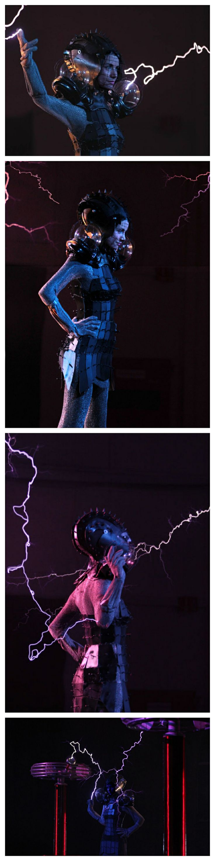 How to be Fashionably Struck by Lighting - Metal Plated Faraday Cage Dress with Spiked Helmet and Plasma Ball Shoulder Pads #fashion #science #tesla_coils