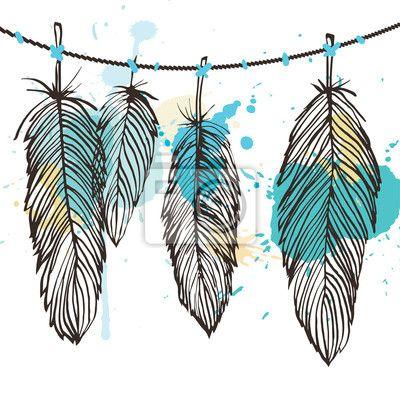 Fotomural Conjunto de plumas Aquarelle