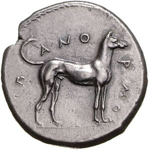 """Didracma - argento - Panormos (Palermo) (415-410 a.C.) - cane ritto vs.dx. Π-ΑΝΟ-ΡΜΟΣ - Münzkabinett Berlin"""