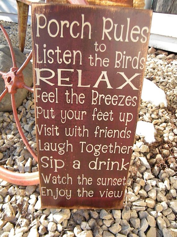 tweed coats for women Vintage Style Porch Deck Patio Rules Typography Word Art Sign