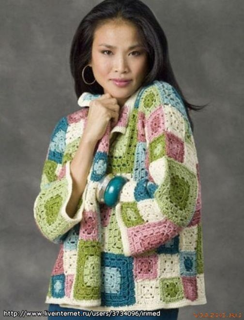 Pastel Granny Square Jacket. - free crochet pattern! link to the pattern: http://www.naturallycaron.com/projects/tulsa/tulsa_1.html