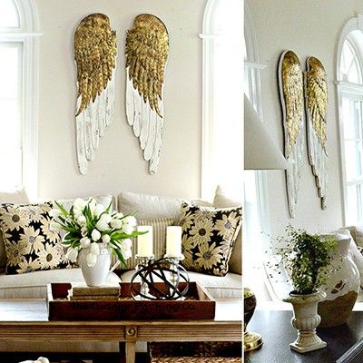We're putting a twist on the traditional angel wings with these majestic gold angel wings. Place these large angel wings in any room to shower any space with peace and an effortless chic style! For more visit, www.decorsteals.com OR www.facebook.com/decorsteals.
