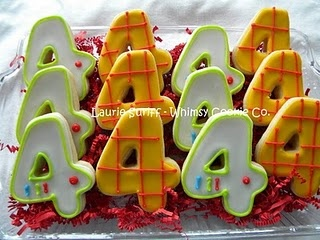 cookies or little cakes cut in the child's birthday age