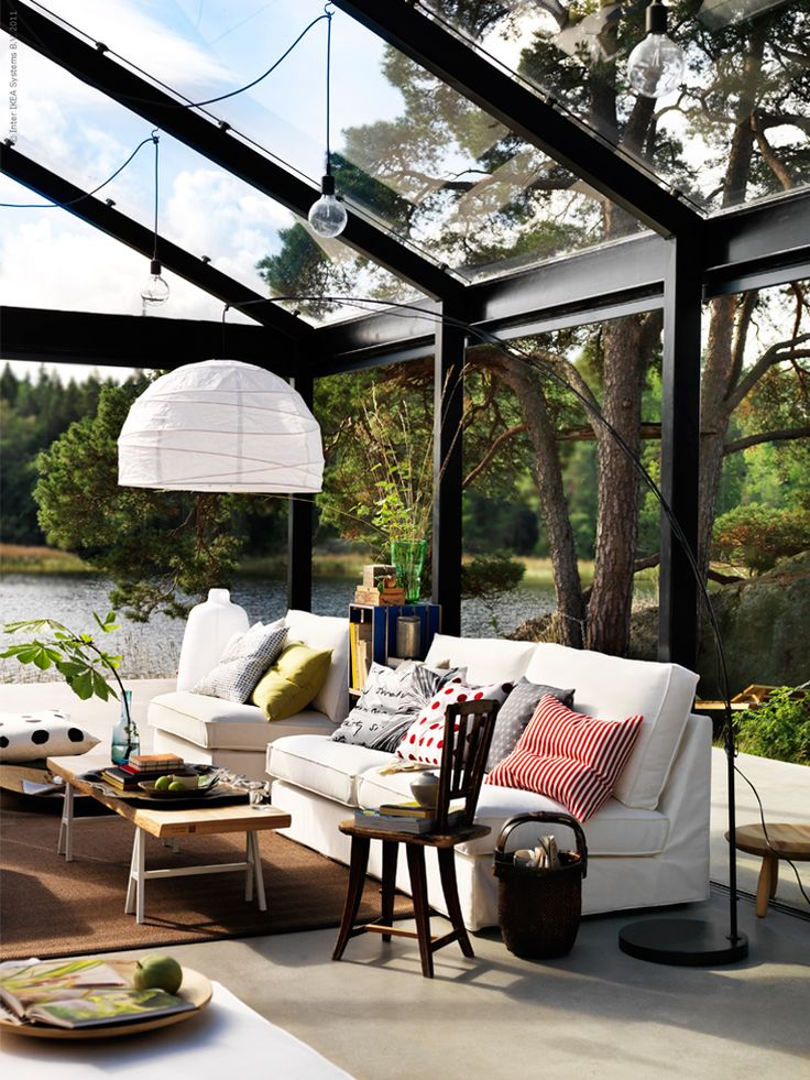 a outdoors indoor room...absolutely love this idea! would be really cool to be in there when it storms or snows!