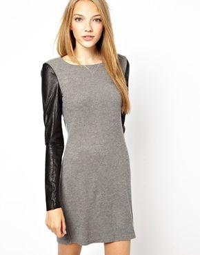 Vero Moda Leather Look Sleeve Knit Dress