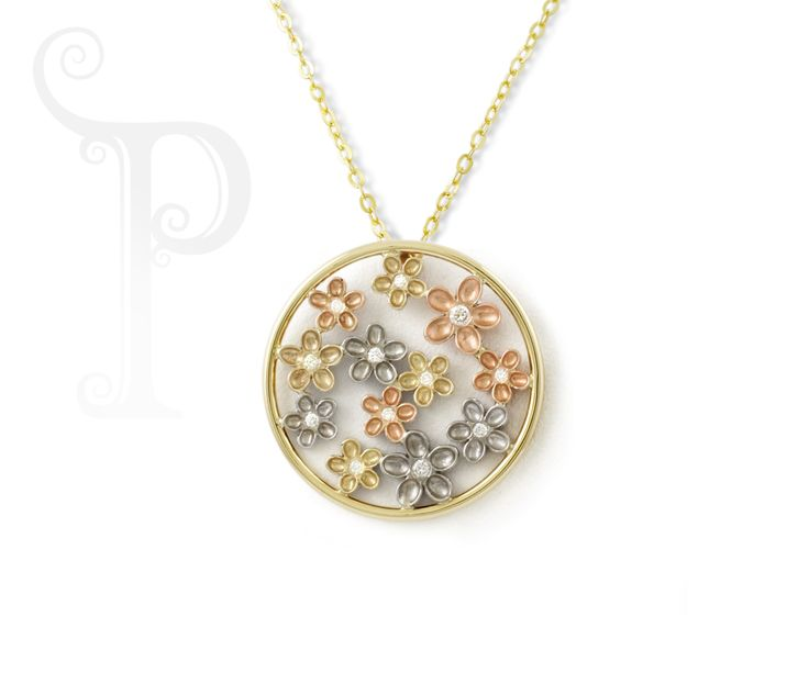 Handmade 9ct Yellow, White & Rose Gold Circle Blossom Pendants, Set With Small Round Brilliant Diamonds