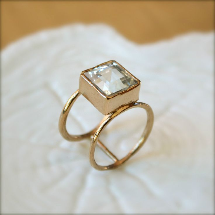 "Double Wheel Gold Ring With Square Aquamarine Stone...    ................My style statement: ""On matters of style, swim with the current, on matters of principle, stand like a rock."" ― Thomas Jefferson"