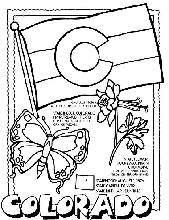 free printable state coloring pages with state flag some state symbols and state facts