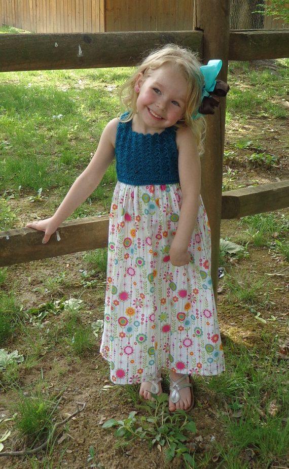 Girls Crochet top maxi dress with corset by SimplySpindleOrganic, $45.00 Splendid crochet work on the top...soo cute :)