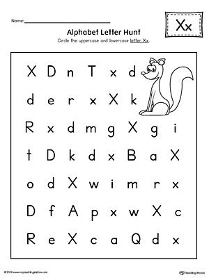 Alphabet Letter Hunt Letter X Worksheet Alphabet