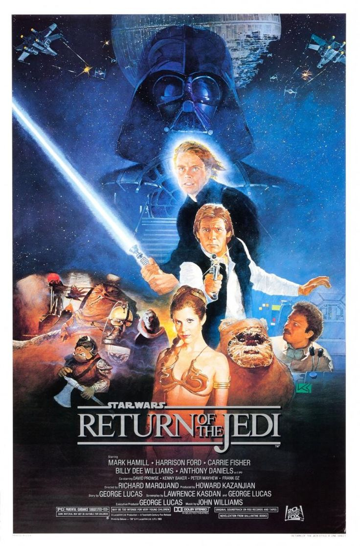 """""""Star Wars. Episode VI: Return of the Jedi"""" (1983). COUNTRY: United States. DIRECTOR: Richard Marquand. CAST: Mark Hamill, Harrison Ford, Carrie Fisher, David Prowse, Ian McDiarmid, Billy Dee Williams, Frank Oz, Alec Guinness, Anthony Daniels,"""
