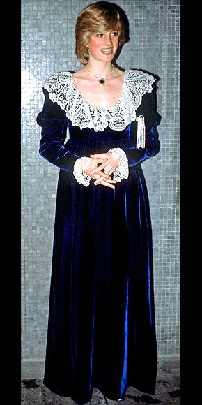People:  THE CONSERVATIVE YEARS: 1980-1985 photo | The Princess looked regal in her Victorian-influenced lace-and-navy velvet gown at a 1981 British Film Institute dinner.  Credit: Tim Graham/AP