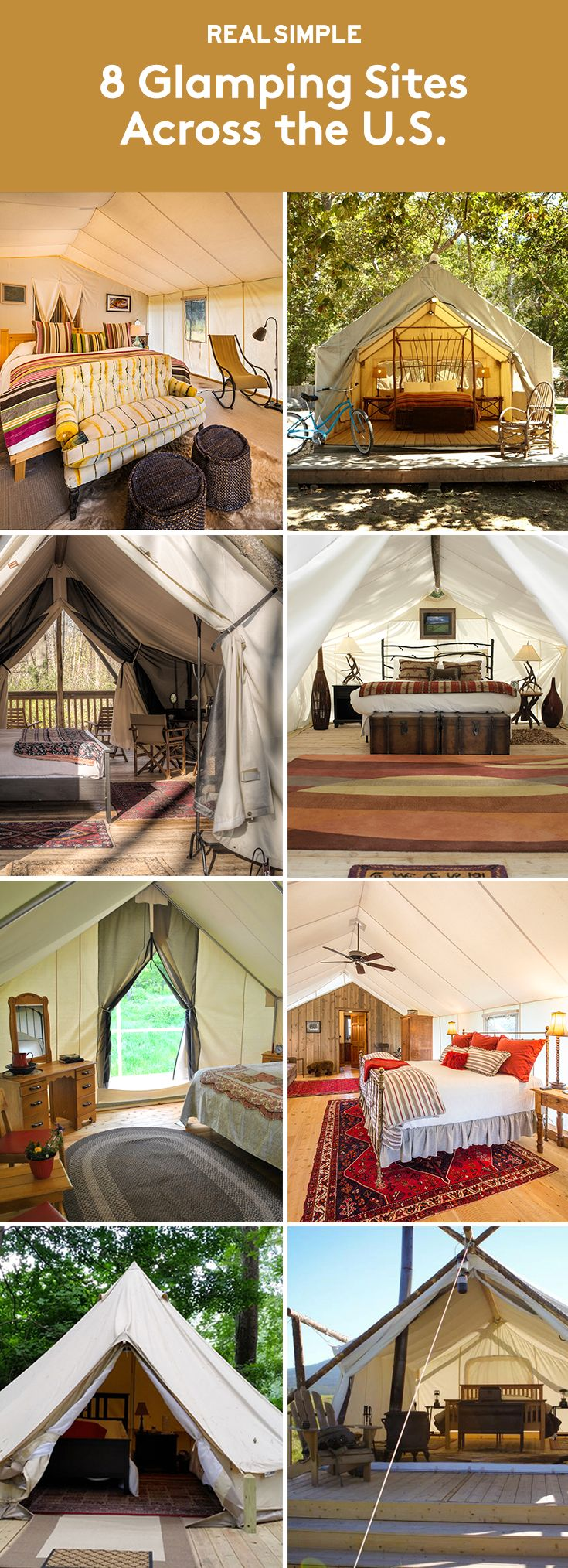 "8 Glamping Sites Across the U.S. | If you think you're not made for ""roughing it"" in nature—well, you don't have to. Glamping (glamorous camping) combines the great outdoors with the high-end amenities to make for a comfortable and unforgettable vacation. Take a look at these spots to add to your bucket list."