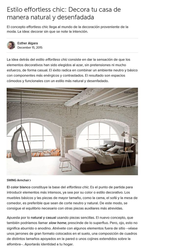 Bed and Swing chair available at RADform was featured in the current issue of Houzz - inquire by emailing info@radform.com link: www.radform.com/... #RADform #press #media #interiordesign #furnitureshowroom #luxury #europeanfurniture