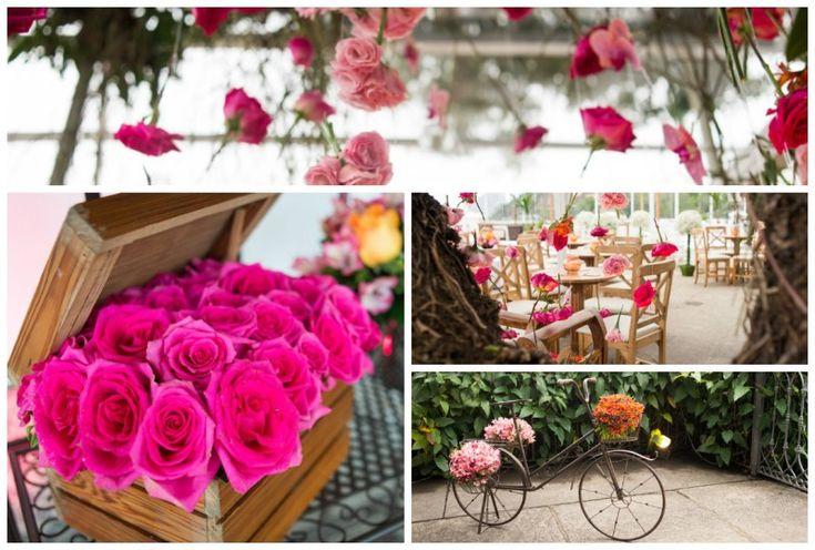 Um verdadeiro encanto de casamento rústico-chique em tons vibrantes de rosa e laranja. Venha conferir!