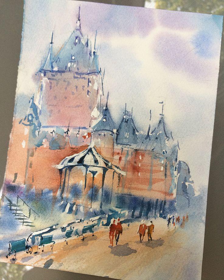 Hanna Zahorna watercolour painting of Quebec City Frontenac 2017 #watercolorpainting #quebec #cityscape #watercolor #aquarelle #акварель #watercolorart #hannazahorna