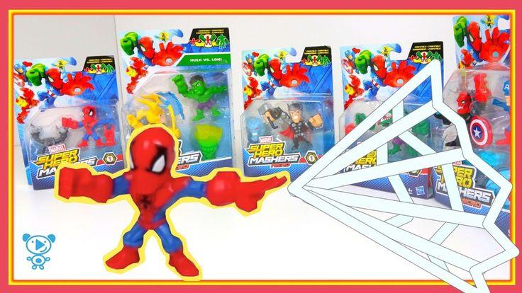 Super hero Mashers Toys Unboxing - Marvel Spiderman Hulk videos for kids...