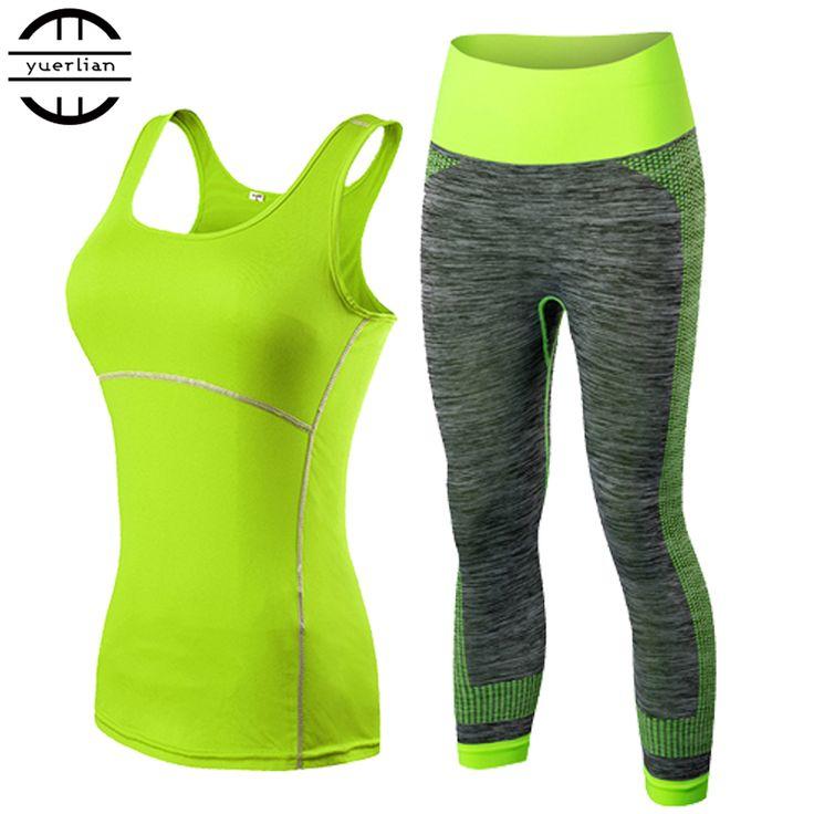 2017 YEL Hot Wanita 2 Pcs Sport Menjalankan Cropped Top 3/4 legging set gym yoga celana rompi gym trainning pakaian gratis pengiriman