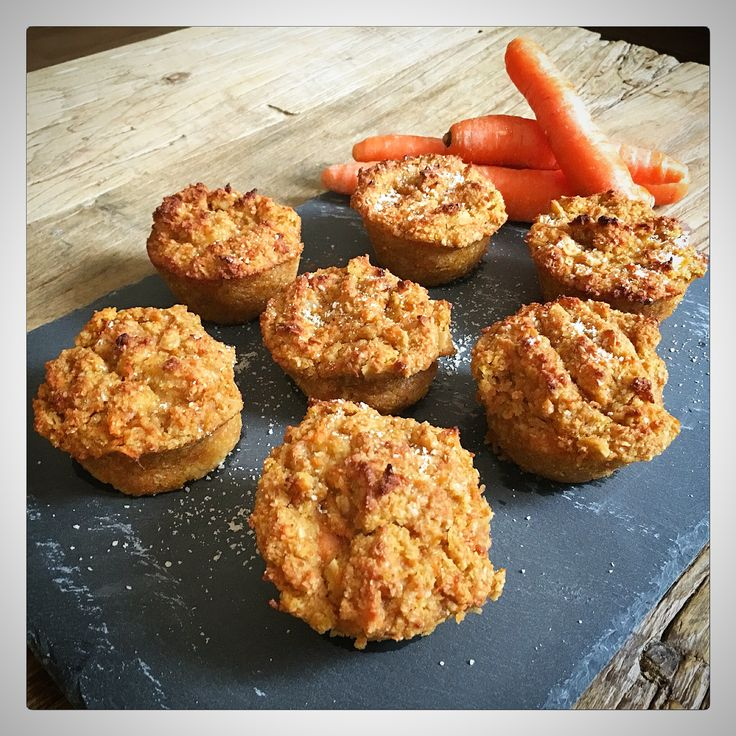 Vegan, gluten-free carrot almond muffins  1 cup ground oats 1 cup almond meal 1½ grated raw carrots ¾ cup unsweetened applesauce or 'compote' ¼ cup melted coconut oil ¾ cup maple syrup 1 tbsp apple cider vinegar 1 tsp vanilla extract 1½ tsp baking powder 1 tsp baking soda Pinch of salt   Preheat oven to 220C or 428F. Mix all the ingredients and put in muffin tray. Bake for about 25 minutes or until top starts to brown.   Follow me on Instagram: (passion.ista)