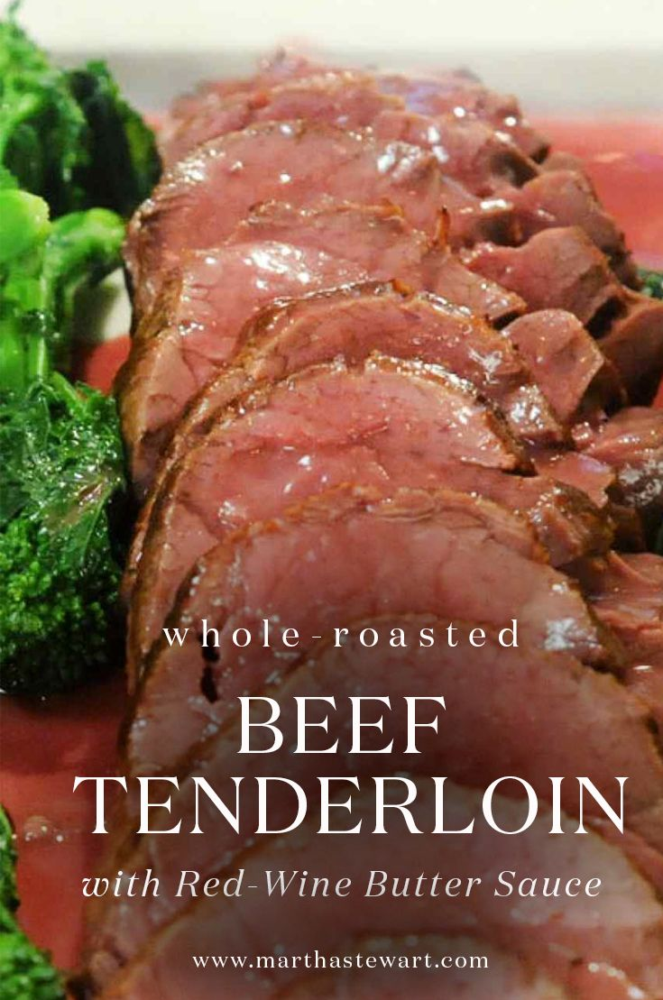 "For a crowd-pleasing yet simple holiday entree, try this traditional beef tenderloin with decadent red-wine butter sauce from chef Eric Ripert's ""Avec Eric"" cookbook. Serve with his Sauteed Broccoli Rabe, if desired."