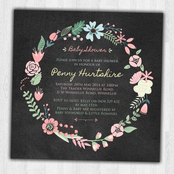 Chalkboard Baby Shower Floral Invitation Square Pastel Wreath - Modern, Contemporary Kids birthday Invitation - Printable, Digital