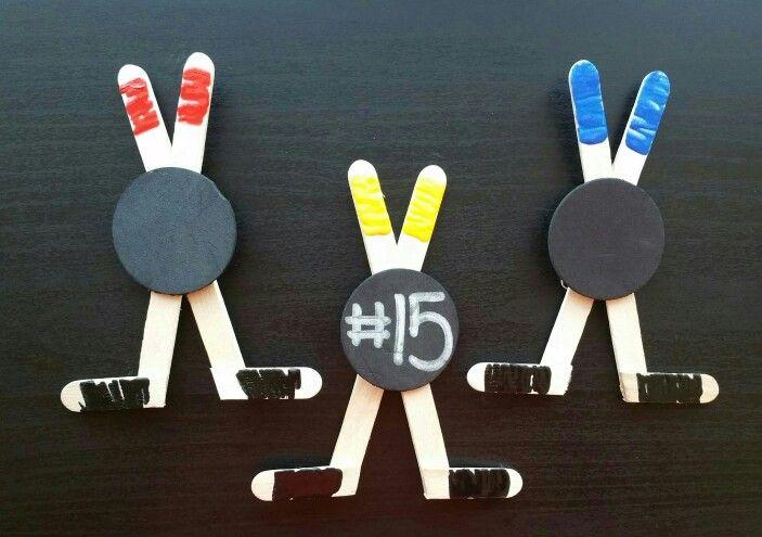 Fun (easy) pins I made for the teams at my daughter's hockey jamboree.