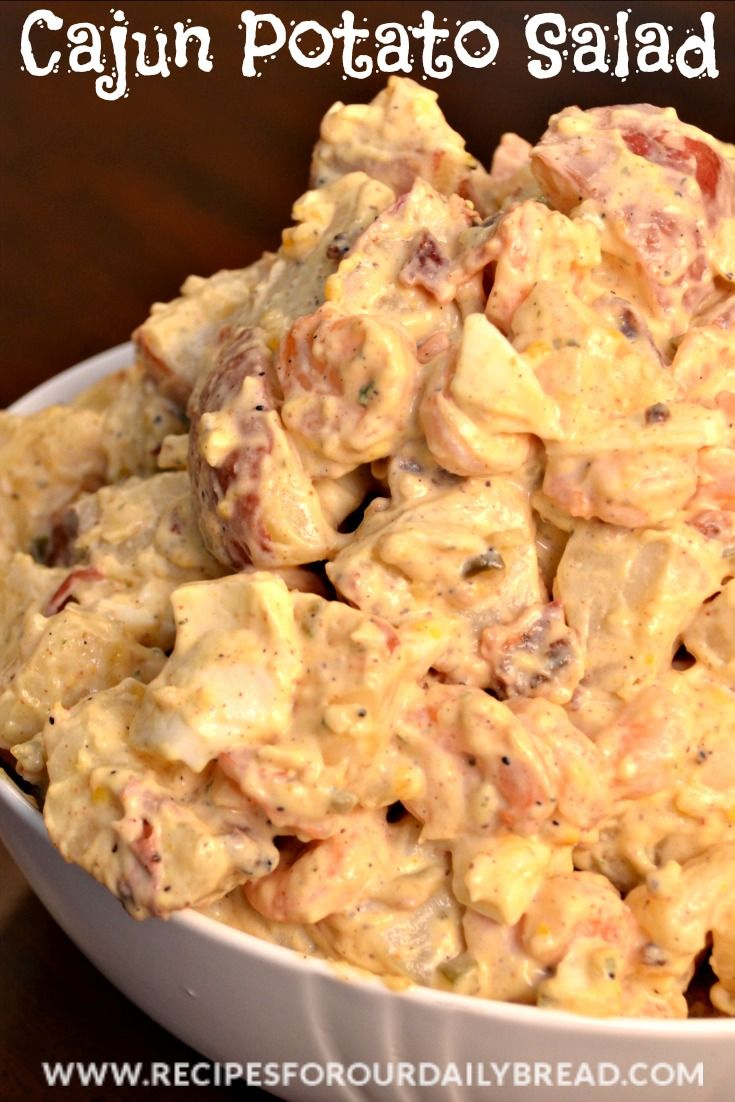 I am ready for a throwdown with Bobby Flay with my Cajun Shrimp Potato Salad.   If you know someone who enjoys Cajun food, you have to make this potato salad today!!  Several years ago while living in Louisiana, I was at a church gathering feeding people who had come to work after hurricane Kat