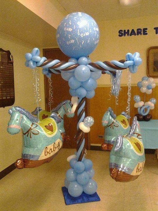 Baby boy carousel balloons