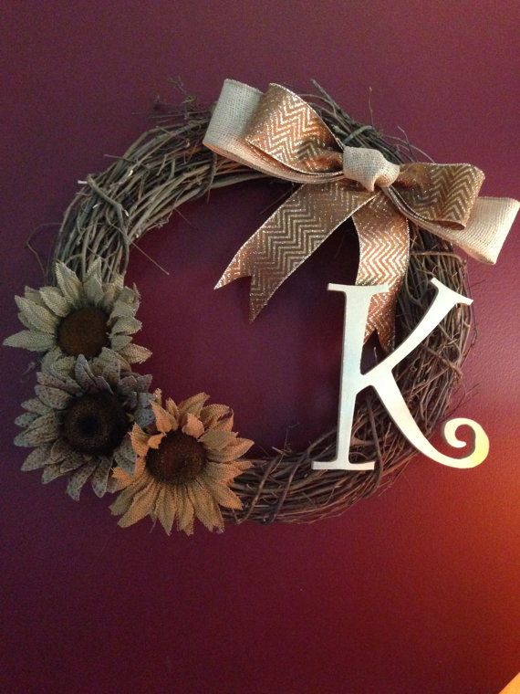 Decorative 18 Grape Vine Wreath with burlap by HomeByMer on Etsy