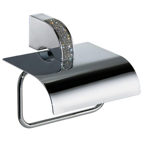 Paper Holder With Swarovski Crystal. No Drill Required Optional   Modern    Toilet Accessories   Miami   Macral Design Corp.