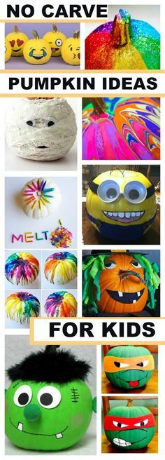 25+ NO CARVE PUMPKIN DECORATING IDEAS FOR KIDS. So many neat ideas that I've never seen!