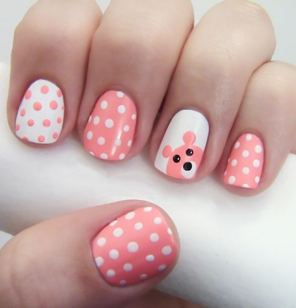 Teddy Bear nail art: three color colour design: white and soft pink polka dots with an accent nail with an easy teddy