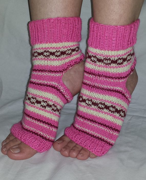 Pink Yoga Socks PiYo Socks Patterned Socks by BareWolfSocks