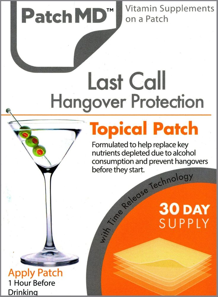 The Last Call Hangover Prevention Topical Patch by PatchMD delivers key nutritional supplements that naturally help your body process alcohol and prevent hangov