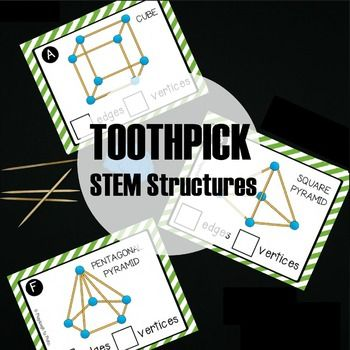 These 19 toothpick STEM structure cards help kids develop abstract thinking, design and build skills, 2d and 3d shape recognition and shape knowledge.