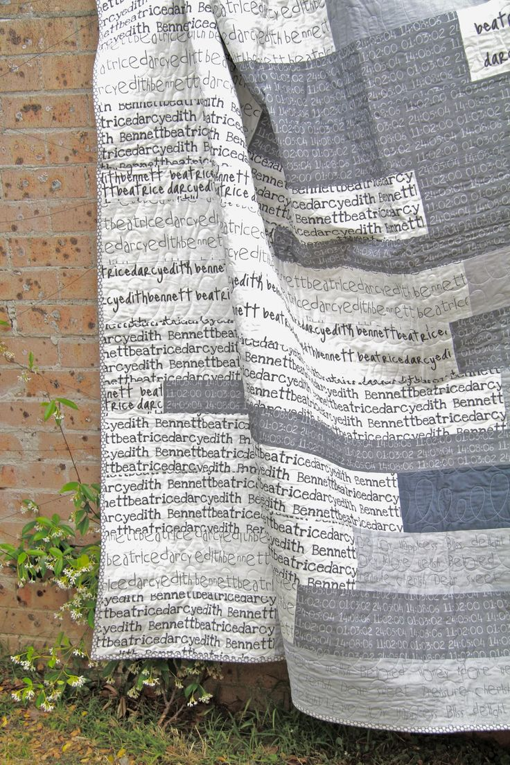 "This script quilt was purchased. It inspires me to think about scripting my own blocks with ""WORDS"" to my GrandChildren. AWESOME!!!"