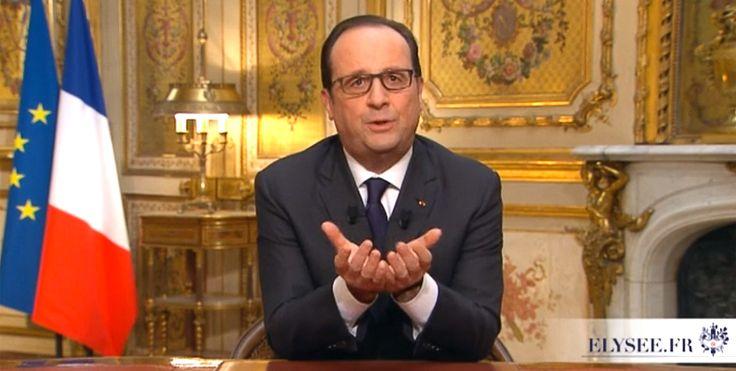 François Hollande a passé une année 2014 difficile avec une cote de popularité en chute libre, 13 % en septembre 2014 : un record pour un président de la Vème République. Ce 31 décembre, il présentait ses vœux à ses concitoyens, un exercice de style imposé qui laisse peu de place à la fantaisie. #voeuxPr #hollande
