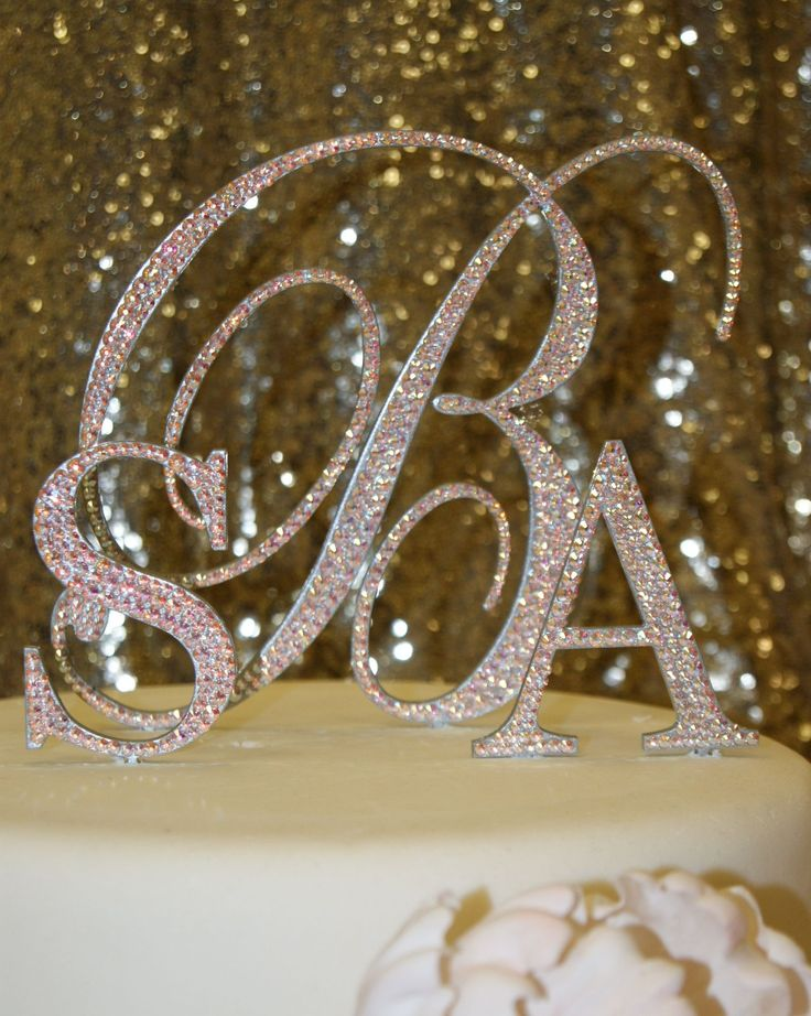 """A more traditional choice of 6"""" Script Love Letter representing last name and two first initials in 3"""" Block. Spectacular atop a gorgeous cake by Cake Clam."""