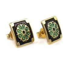 Vtg David Andersen Sterling Silver Modernist Green Black Enamel Stud Earrings